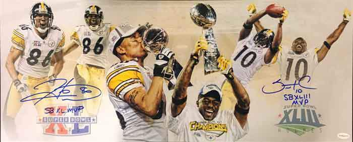 Hines Ward and Santonio Holmes Signed Custom Panoramic Photo Both with SB MVP Inscriptions