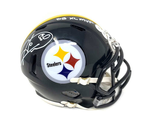 Hines Ward Autographed Pittsburgh Steelers Black SPEED Mini Helmet with SB XL MVP