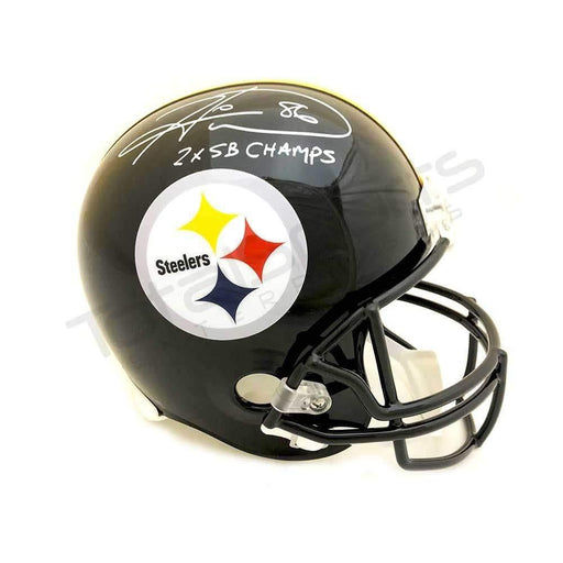 Hines Ward Autographed Pittsburgh Steelers Replica Black Helmet with '2X SB Champs'