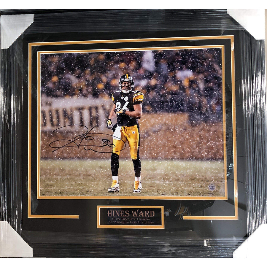 e436cc4980e Fan Photos STEELERS Hines Ward in Snow Signed 16x20 Photo - Professionally  Framed