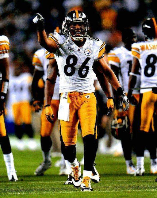Hines Ward Pointing in SB XLIII Unsigned 8x10 Photo