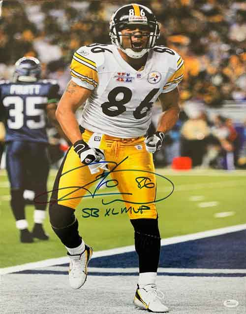 Hines Ward Signed Celebrating TD at SB 40 16x20 Photo with SB XL MVP