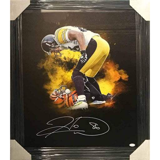 Hines Ward Signed Over Bengal 20 x 24 Canvas - Professionally Framed