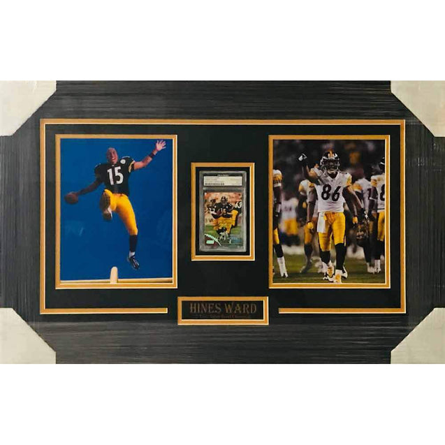 Hines Ward Signed Rookie Card with 2 11x14's - Professionally Framed
