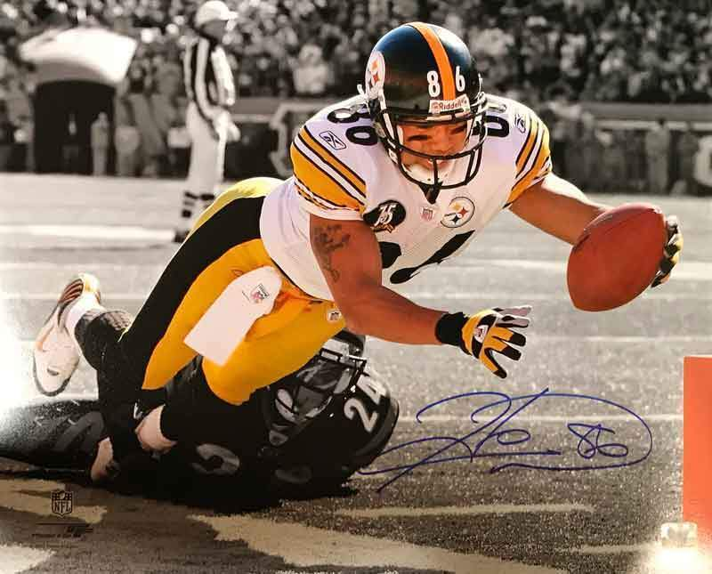 Hines Ward Signed Spotlight Diving Towards Pylon 16x20 Photo