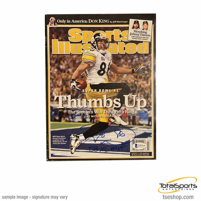 Hines Ward Signed Thumbs Up Sports Illustrated (News Stand Issue) with SB XL MVP