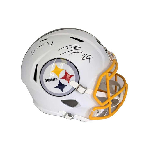 Ike Taylor Signed Pittsburgh Steelers Full Size Replica WHITE MATTE Helmet with Swaggin U