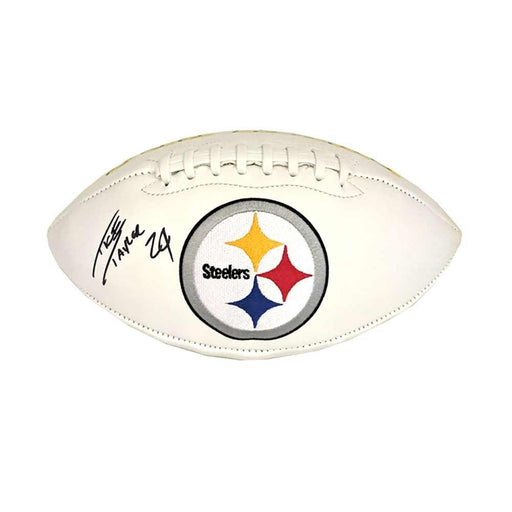 Ike Taylor Signed Pittsburgh Steelers White Logo Football