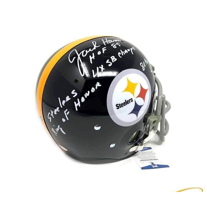 Jack Ham Autographed Black TK Suspension Helmet with Gray Custom Facemask with STATS