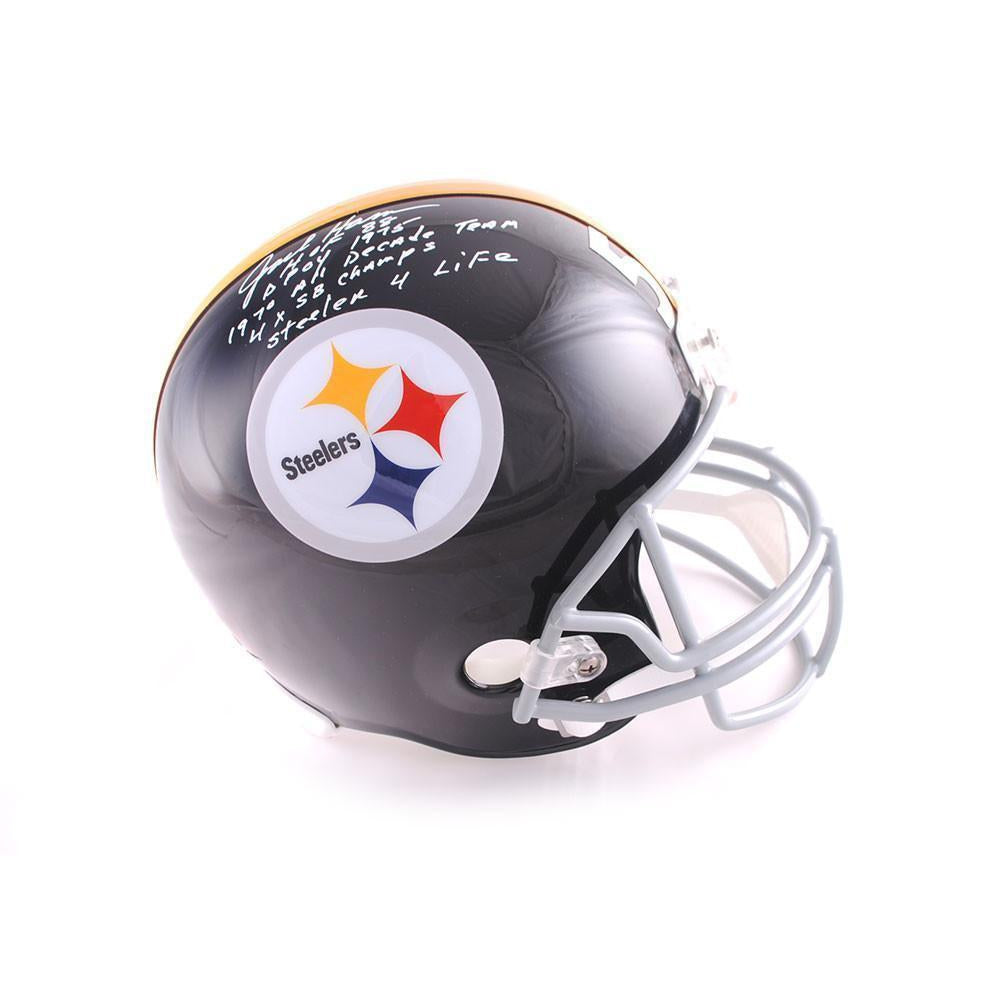 12ccc803101 Jack Ham Autographed Full Size Replica Throwback Pittsburgh Steelers Helmet  with 4 Inscriptions (with Steeler