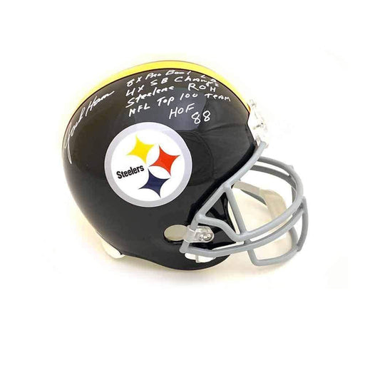 Jack Ham Autographed Full Size Replica Throwback Pittsburgh Steelers Helmet with 5 Inscriptions (with NFL Top 100 Team)