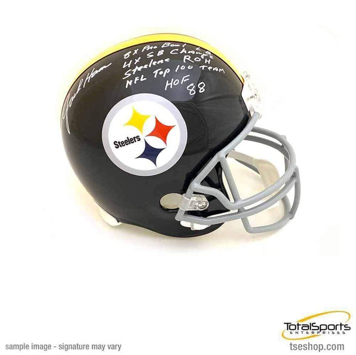 Jack Ham Autographed Full Size Replica Throwback Pittsburgh Steelers Helmet with 5 Inscriptions (with NFL Top 100 Team) - DAMAGED