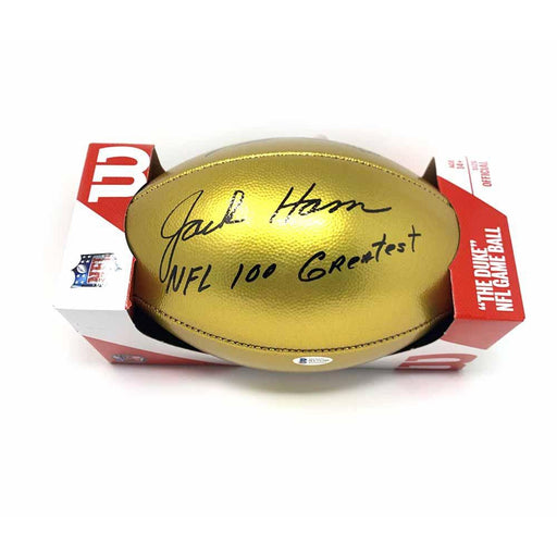 Jack Ham Autographed Gold NFL 100 Football with NFL 100 Greatest