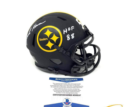 Jack Ham Autographed Pittsburgh Steelers Black Matte Mini Helmet with HOF 88
