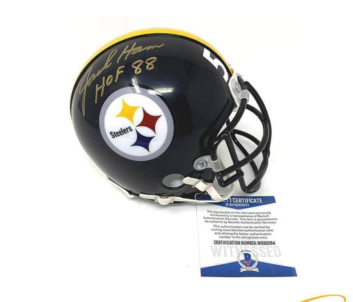 Jack Ham Autographed Pittsburgh Steelers Black Mini Helmet with Black Custom Facemask with HOF 88
