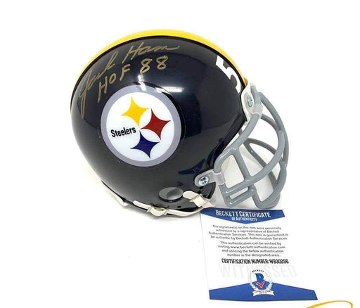 Jack Ham Autographed Pittsburgh Steelers Black Mini Helmet with TB Custom Facemask with HOF 88