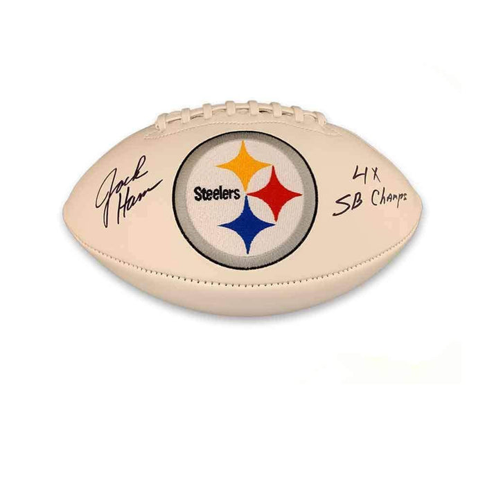Jack Ham Autographed White Steelers Logo Football with $X SB Champs