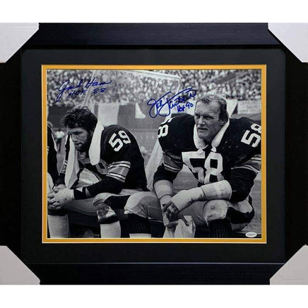 Jack Ham (HoF 88) and Jack Lambert (HoF 90) Dual Signed Sitting on Bench Signed 16x20 - Professionally Framed