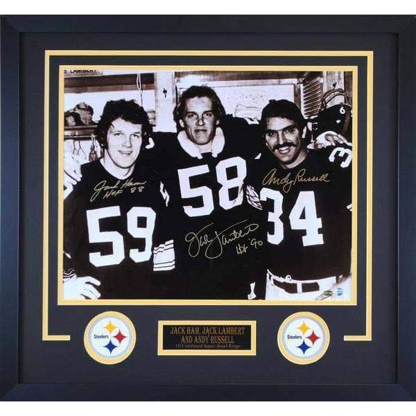 new product bb2fb ff84f Jack Ham, Jack Lambert, Andy Russell Signed 3 Linebackers 16x20 -  Professionally Framed