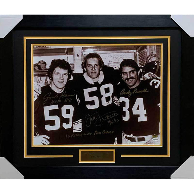 Jack Ham, Jack Lambert, Andy Russell Signed 3 Linebackers 16x20 with 10 Rings & 24 Pro Bowls - Professionally Framed