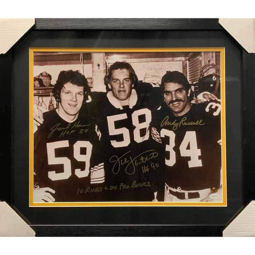 Jack Ham, Jack Lambert, Andy Russell Signed 3 Linebackers 16x20 with 10 Rings & 24 Pro Bowls - Professionally Framed No Nameplate