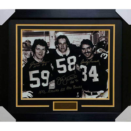 Jack Ham, Jack Lambert, Andy Russell Signed 3 Linebackers 16x20 with NFL Record 24 Pro Bowls - Professionally Framed