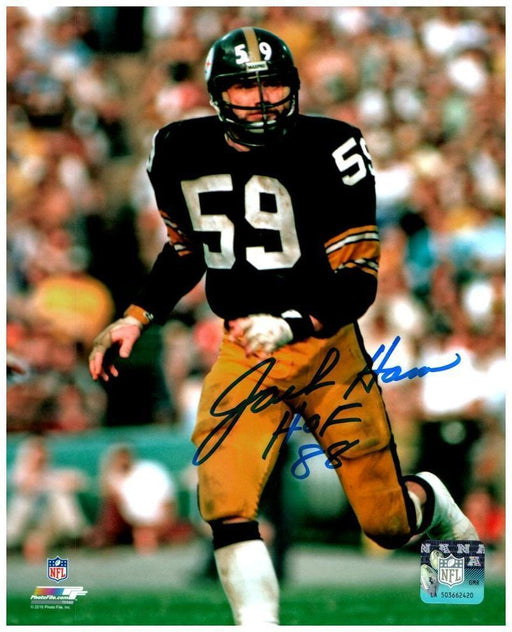 "Jack Ham Signed Running in Black 8x10 Photo with ""HOF 88"""