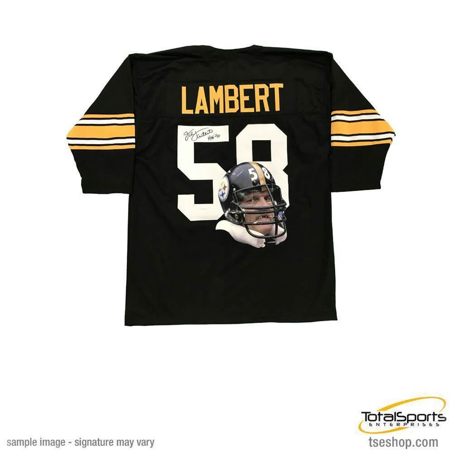 4599e7999 Jack Lambert Autographed Black 3 4 Throwback Custom PHOTO ENHANCED Jersey  inscribed  HOF 90