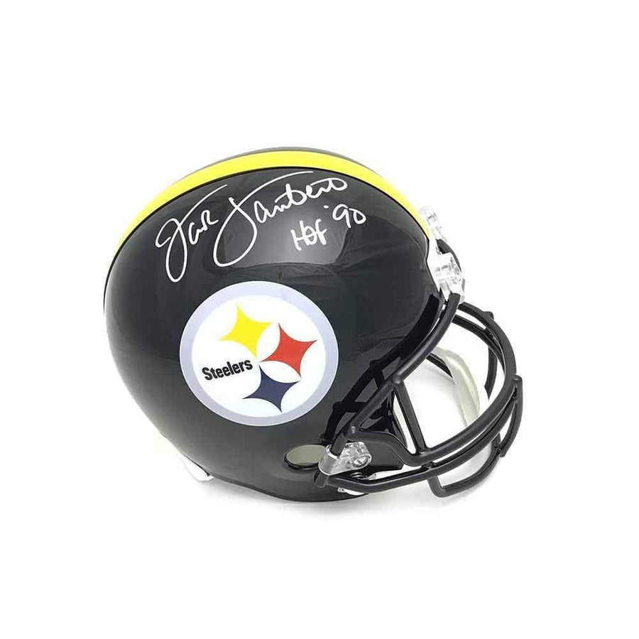 Jack Lambert Autographed Black Replica Full-Size Helmet with 'HOF 90'