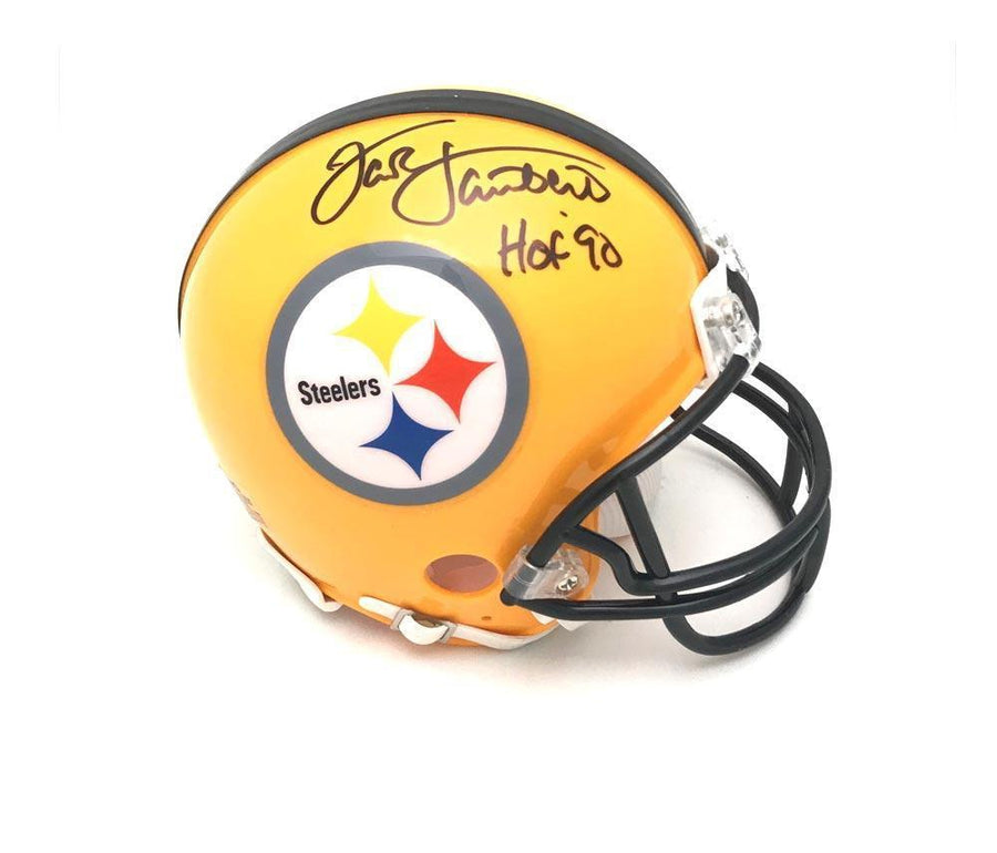 "Jack Lambert Autographed Pittsburgh Steelers 75th Anniversary Mini Helmet ""HOF 90"""