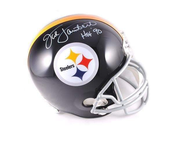 "Jack Lambert Autographed Pittsburgh Steelers Black Throwback Mini Helmet ""HOF 90"""