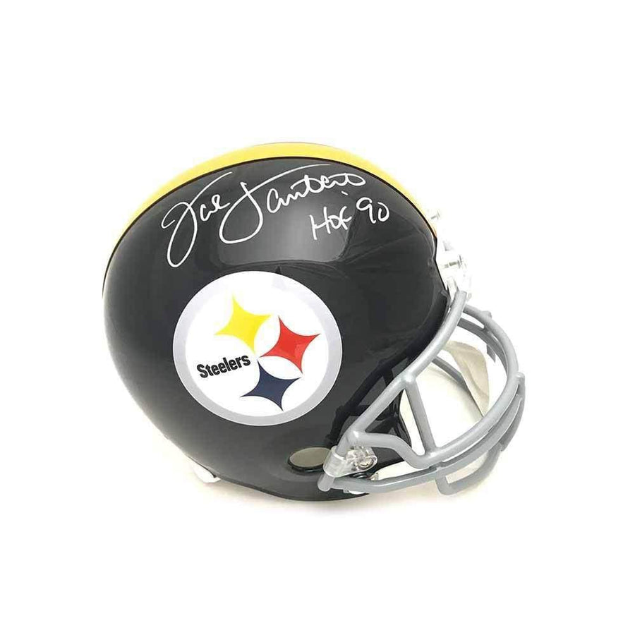 Jack Lambert Autographed Throwback (Gray Mask) Black Replica Full-Size Helmet with 'HOF 90'