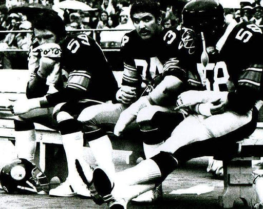 Jack Lambert, Jack Ham and Andy Russell Sitting on Bench B&W Unsigned 8x10 Photo