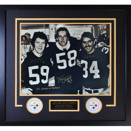 Jack Lambert, Jack Ham & Andy Russell Autographed 20x24 Photo - Professionally Framed