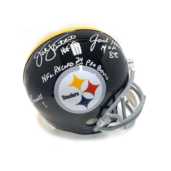 Jack Lambert, Jack Ham, Andy Russell Autographed Full Size Replica Throwback Riddell Helmet - DAMAGED
