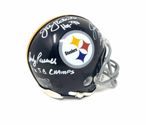 Jack Lambert, Jack Ham, Andy Russell Autographed Pittsburgh Steelers Mini Helmet - DAMAGED