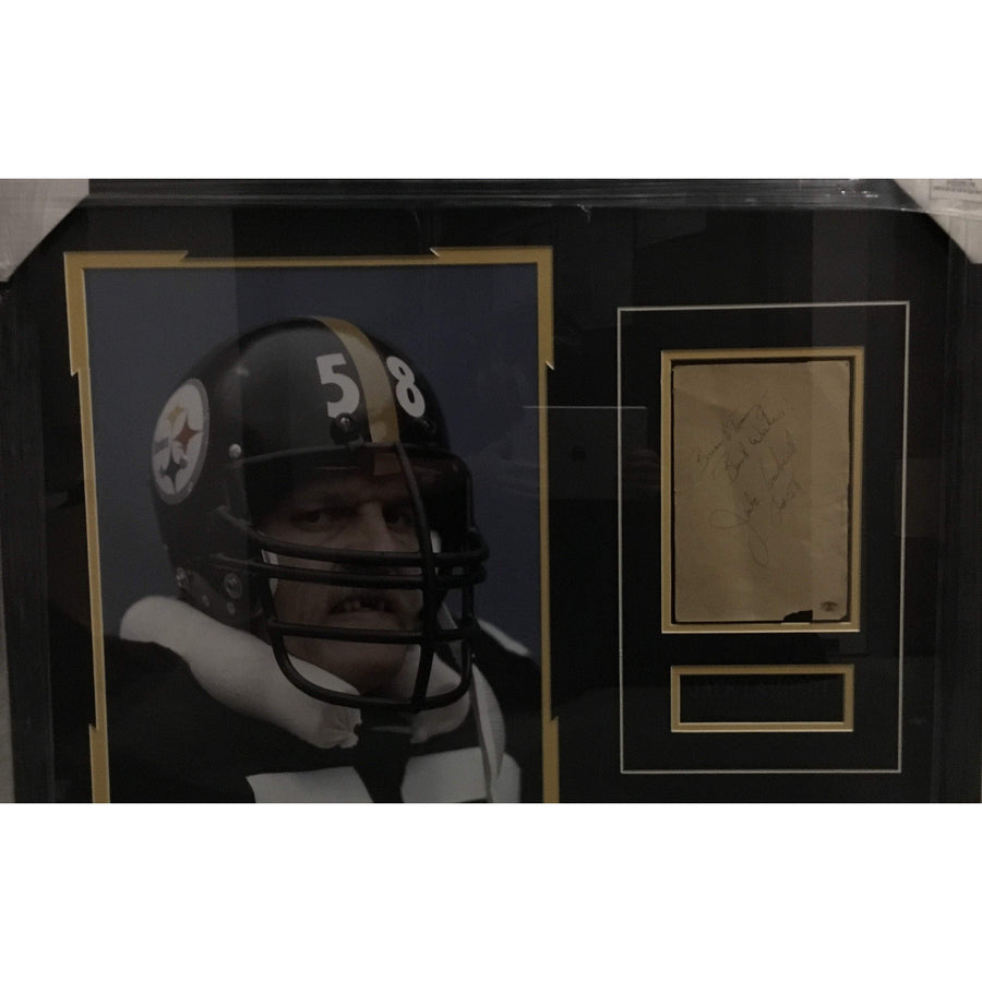 Jack Lambert No teeth Color 16x20 with Signed Brown Piece of paper - Professionally Framed
