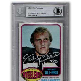 Jack Lambert Signed Rookie Card Slabbed by Beckett