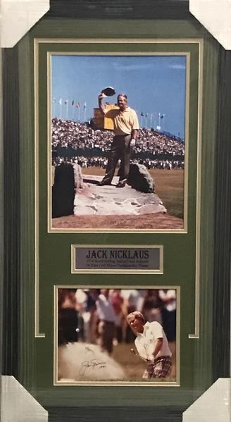 Jack Nicklaus Signed Checkered Pants 8x10 with 11x14 on Swilcan Bridge - Professionally Framed