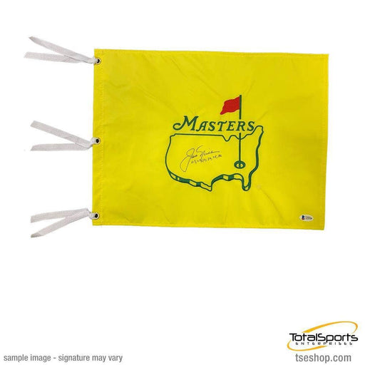 Jack Nicklaus Signed Masters Pin Flag with Years Won (63, 65, 66, 72, 75, 86)