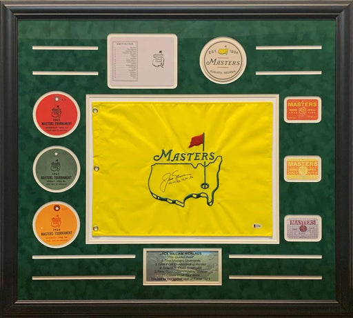 Jack Nicklaus Signed Masters Pin Flag with Years Won (63, 65, 66, 72, 75, 86) with Replica Tickets - Professionally Framed