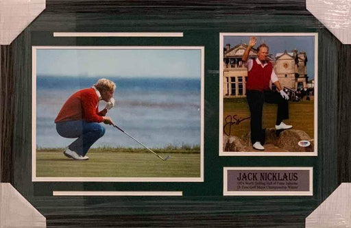 Jack Nicklaus Signed on Swilcan Bridge 8x10 with 11x14 Lining Up Putt - Professionally Framed Default Title