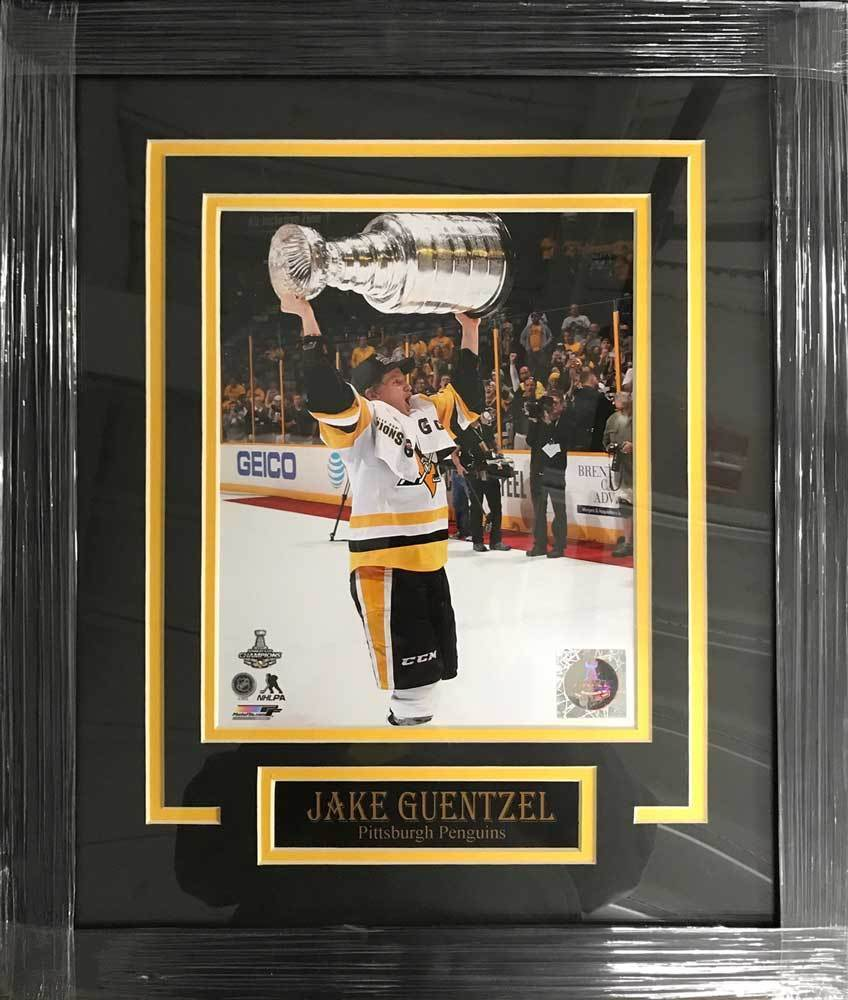 Jake Guentzel UNSIGNED Professionally Framed Raising Cup 8x10 Photo