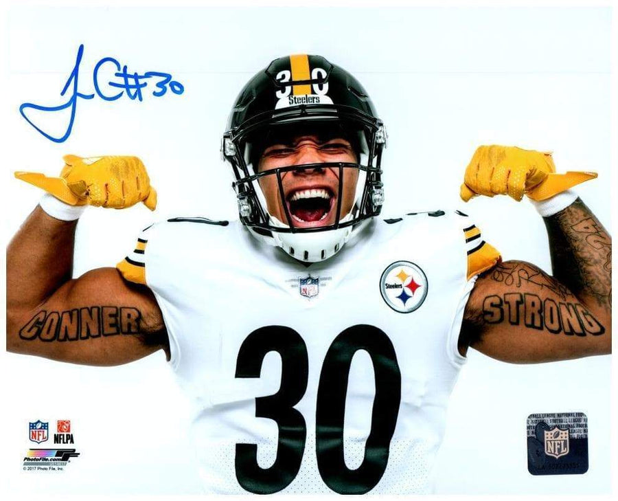 Signed STEELERS Photos James Conner Autographed Flexing 16x20 Photo