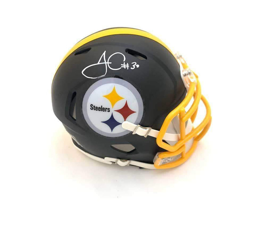 James Conner Autographed Pittsburgh Steelers Black Matte Mini Helmet with Yellow Mask