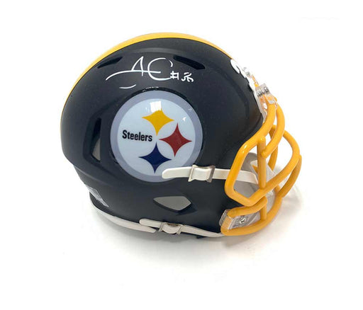 James Conner Autographed Pittsburgh Steelers Black Matte Mini Helmet with Yellow Mask - Damaged