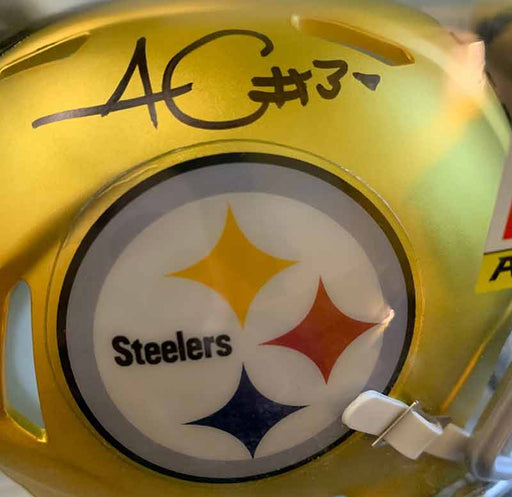 James Conner Autographed Pittsburgh Steelers Blaze Mini Helmet - REDUCED
