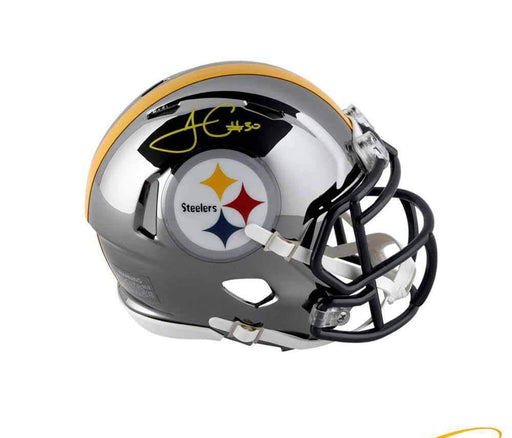 James Conner Autographed Pittsburgh Steelers CHROME Mini Helmet