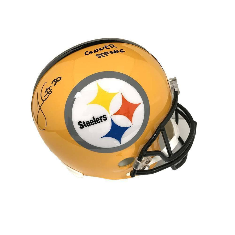 "James Conner Autographed Pittsburgh Steelers Full Sized 75th Ann. Helmet with ""Conner Strong"""