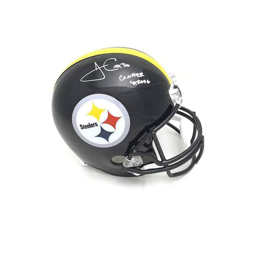 James Conner Autographed Pittsburgh Steelers Full Sized Black Replica Helmet with Conner Strong
